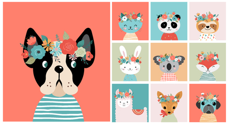 Cute animals heads with flower crown, vector illustrations for nursery design, poster, birthday greeting cards. Panda, llama, fox, coala, cat, dog, racoon and bunny Illustration