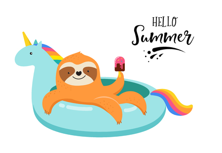 Summer fun illustration with cute sloth on unicorn swimming pool float. Concept vector illustrations, background template