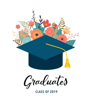 Graduate class of 2019. Caps and flowers on a white background. Vector illustration, banner design Иллюстрация