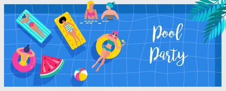 Pool party invitation, background and banner with miniature people swimming and having fun on the pool. Vector illustration template