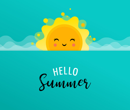 Summer fun background, sun illustration and banner design. Sale poster template