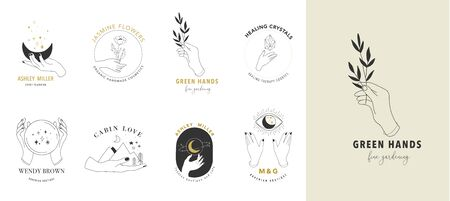 Collection de beaux styles dessinés à la main et d'icônes de mains. Illustrations ésotériques, de mode, de soins de la peau et de concept de mariage. Vecteurs