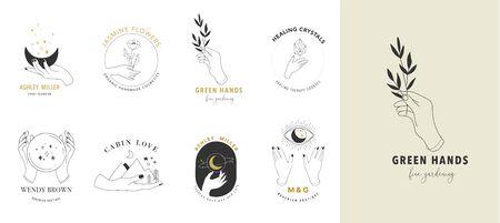 Sammlung von feinen, handgezeichneten Stilen und Ikonen der Hände. Illustrationen zu Esoterik, Mode, Hautpflege und Hochzeitskonzepten. Vektorgrafik