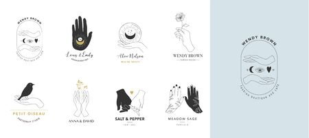 Collection of fine, hand drawn style and icons of hands. Esoteric, fashion, skin care and wedding concept illustrations.