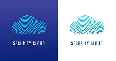 Fingerprint scan, privacy, cyber security, cloud icon, identity information and network protection. Vector icon 일러스트