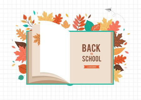 Back to school scene with big book and autumn, fall leaves. College, school and university concept vector illustration