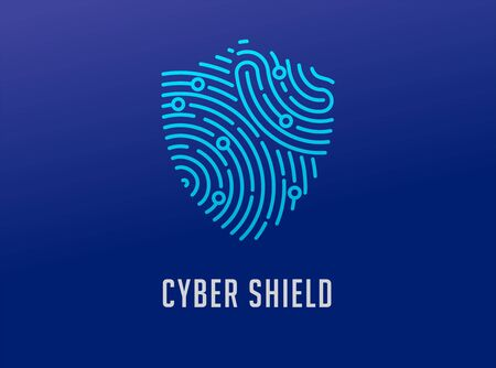 Fingerprint scan, privacy, shield icon, cyber security ,identity information and network protection. Vector icon 일러스트