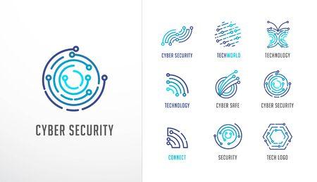 Raccolta di loghi. Tecnologia, biotecnologia, alta tecnologia, icone e simboli fintech