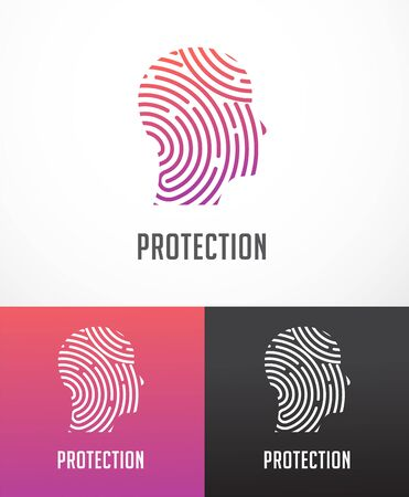 Fingerprint scan, privacy, cyber security, person head, identity information and network protection. Vector icon 일러스트