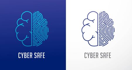 Fingerprint scan, privacy, human brain icon, cyber security ,identity information and network protection. Vector icon Illustration