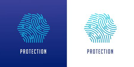 Fingerprint scan, privacy, cyber security ,identity information and network protection. Vector icon 일러스트