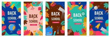 Back to school set of banners with leaves, pen, pencil and apple on different backgrounds. School shopping, sale signs. Vector illustration.