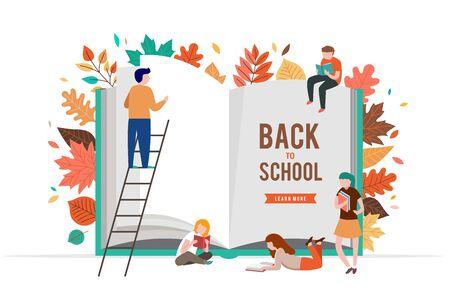 Zurück zur Schulszene mit großen Buch- und Miniaturleuten, Kindern, die mit Herbstblättern spielen, springen und rennen. College-, Schul- und Universitätskonzeptvektorillustration Vektorgrafik