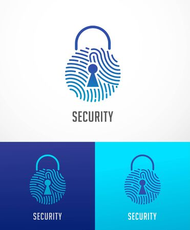 Fingerprint scan, privacy, lock icon, cyber security ,identity information and network protection. Vector icon