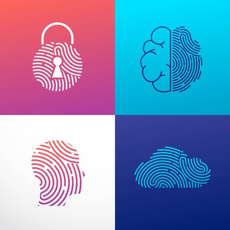 Fingerprint scan, privacy, cyber security ,identity information and network protection. Person head, brain, cloud and lock icons. Vector icon