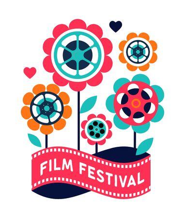 Film festival, cinema and movie poster, creative retro vector design concept template