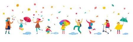 Autumn, fall scene with various cute people, families and children having fun, playing with autumn leaves and jumping with an umbrellas.