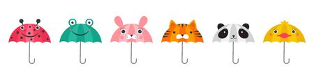 Collection of various cute umbrellas with animals faces design. Panda, frog, ladybug, tiger and chick funny faces.