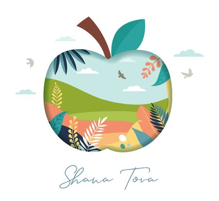 Rosh Hashana, Jewish holiday, New year scene with an apple, honey, flowers and leaves. Flat cartoon vector illustration for Jewish religious holiday celebration