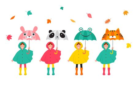 Autumn, fall scene with various cute kids, boys and girls in colorful raincoats having fun, playing with autumn leaves, holding a funny umbrellas.