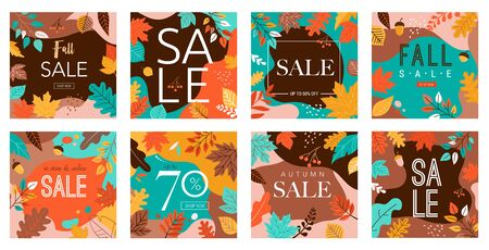 Autumn, fall banners, collection of abstract background designs, fall sale, story design, social media promotional content. Vector illustration