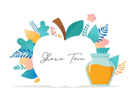 Rosh Hashana, Jewish holiday, New year scene with an apple, honey, flowers and leaves. Flat cartoon vector illustration for Jewish religious holiday celebration. Background template