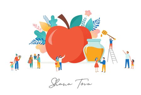 Rosh Hashana, Jewish holiday, New year scene with an apple, tiny varios people, men, kids and women giving gifts, holding flower, eating apples with honey. Flat cartoon vector illustration for Jewish