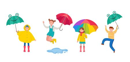 Autumn, fall scene with various cute people, families and children having fun, playing with autumn leaves and jumping with an umbrellas. Crowd of tiny men, children and women under rain. Colorful vect