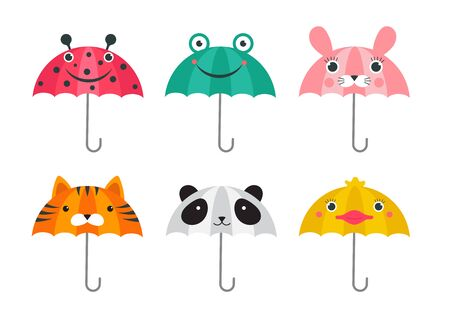 Collection of various cute umbrellas with animals faces design. Panda, frog, ladybug, tiger and chick funny faces. Colorful vector illustration in modern flat style Ilustração