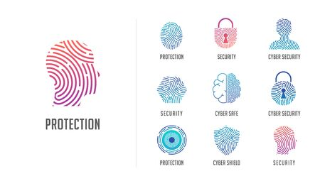 Fingerprint scan, privacy, cyber security ,identity information and network protection. Person head, brain, cloud and lock icons. Vector icon collection