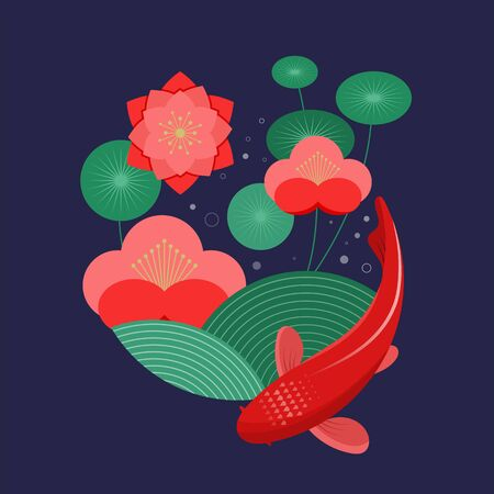 Koi fish, red carp and flowers. Vector illustration template