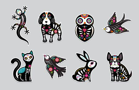 Day of the dead, Dia de los moertos, animals skulls and skeleton decorated with colorful Mexican elements and flowers. Fiesta, Halloween, holiday poster, party flyer. Vector illustration Çizim