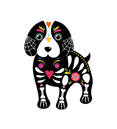 Day of the dead, Dia de los moertos, dogs skull and skeleton decorated with colorful Mexican elements and flowers. Fiesta, Halloween, holiday poster, party flyer. Vector illustration