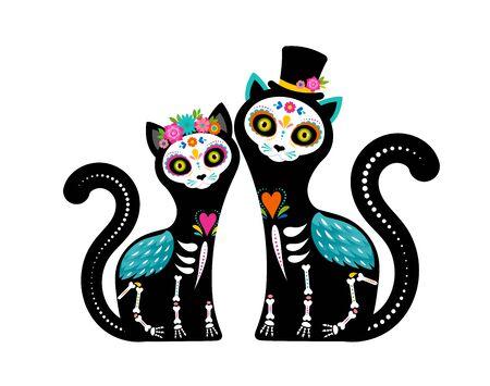 Dag van de doden, Dia de los muertos, kattenschedels en skelet versierd met kleurrijke Mexicaanse elementen en bloemen. Fiesta, Halloween, vakantieposter, feestvlieger. vector illustratie
