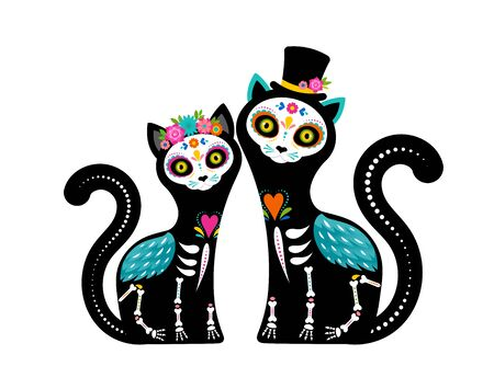 Dzień zmarłych, Dia de los muertos, czaszki i szkielet kota ozdobione kolorowymi meksykańskimi elementami i kwiatami. Fiesta, Halloween, świąteczny plakat, ulotka imprezowa. Ilustracja wektorowa