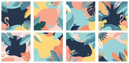 Colección de diseños de fondo abstracto: venta de verano, contenido promocional de redes sociales. Ilustración vectorial