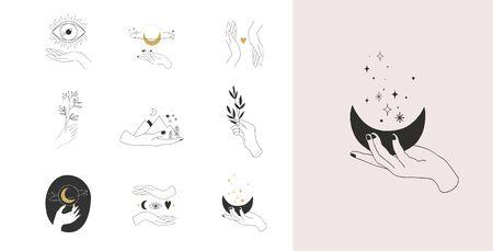 Sammlung von feinen, handgezeichneten Stilen und Symbolen von Händen. Illustrationen zu Mode, Hautpflege und Hochzeitskonzepten.
