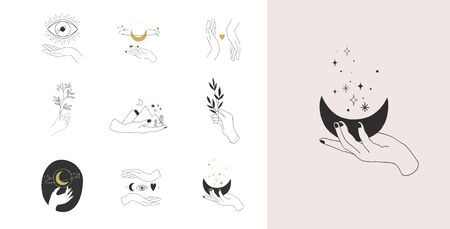 Collection of fine, hand drawn style  and icons of hands. Fashion, skin care and wedding concept illustrations.