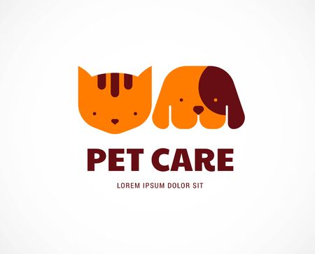 Pet shop, animals veterinary clinic, dog and cat   symbol. Vector design and illustration  イラスト・ベクター素材