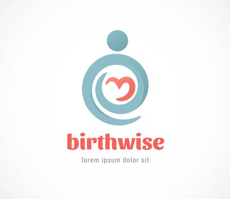 Birth, pregnant, family and baby care  symbol. Vector design