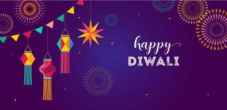 Happy Diwali Hindu festival banner, greeting card. Burning diya illustration, background template for light festival of India
