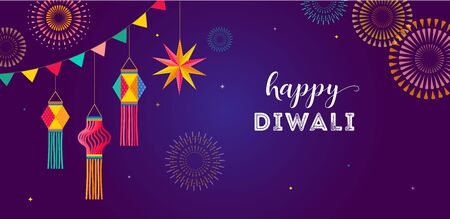 Happy Diwali Hindu festival banner, greeting card. Burning diya illustration, background template for light festival of India