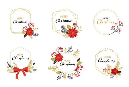Merry Christmas  hand drawn elegant, delicate monograms isolated on white background. Hand drawn vector collection Banque d'images - 131223707