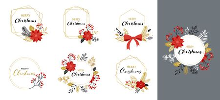 Merry Christmas   hand drawn elegant, delicate monograms isolated on white background. Hand drawn vector collection Banque d'images - 131223782