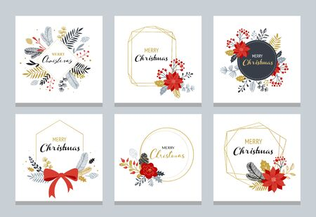 Merry Christmas  hand drawn elegant, delicate monograms isolated on white background. Hand drawn vector collection Banque d'images - 131223862