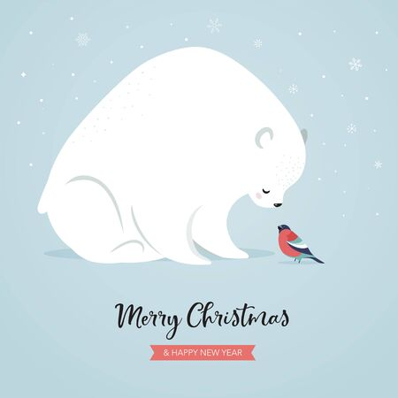 Cute polar bear and bullfinch, winter and Christmas scene. Perfect for banner, greeting card, apparel and label design. Vector illustration Stock Illustratie