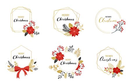 Merry Christmas, hand drawn elegant, delicate monograms isolated on white background. Hand drawn vector set Banque d'images - 131226004