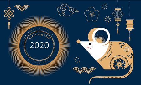 Happy Chinese new year design. 2020 Rat zodiac. Cute mouse cartoon. Vector illustration and banner design concept in flat style Illustration
