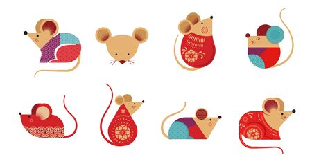 Happy Chinese new year design. 2020 Rat zodiac. Cute mouse cartoon.