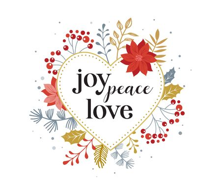 Joy, peace, love, Merry Christmas card with lettering on elegant floral background. Vector design card and banner Фото со стока - 131389968